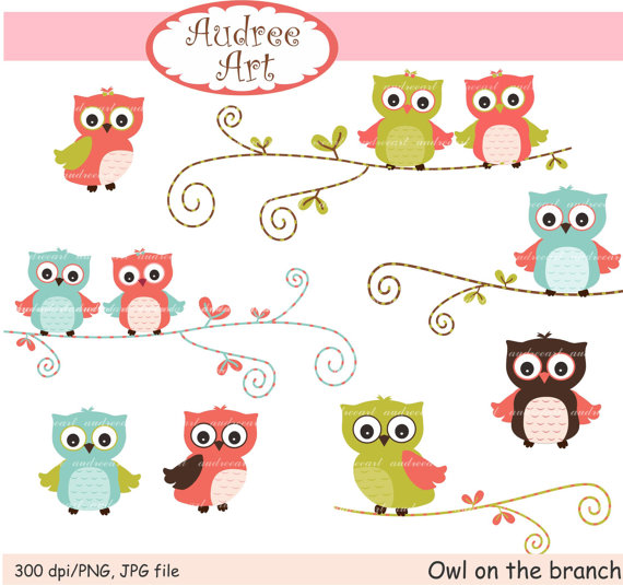 Owls clip art cute owls on the branch pink by.