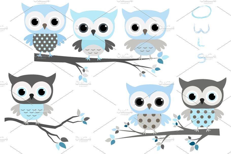 Cute blue and grey owls clip art set.