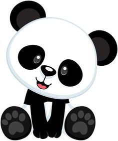 CLIPART BABY PANDA WITH BAMBOO.