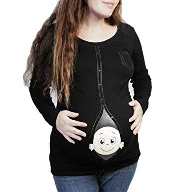 Amazon.com: XEDUO Women Maternity Baby Peeking T Shirt Funny.