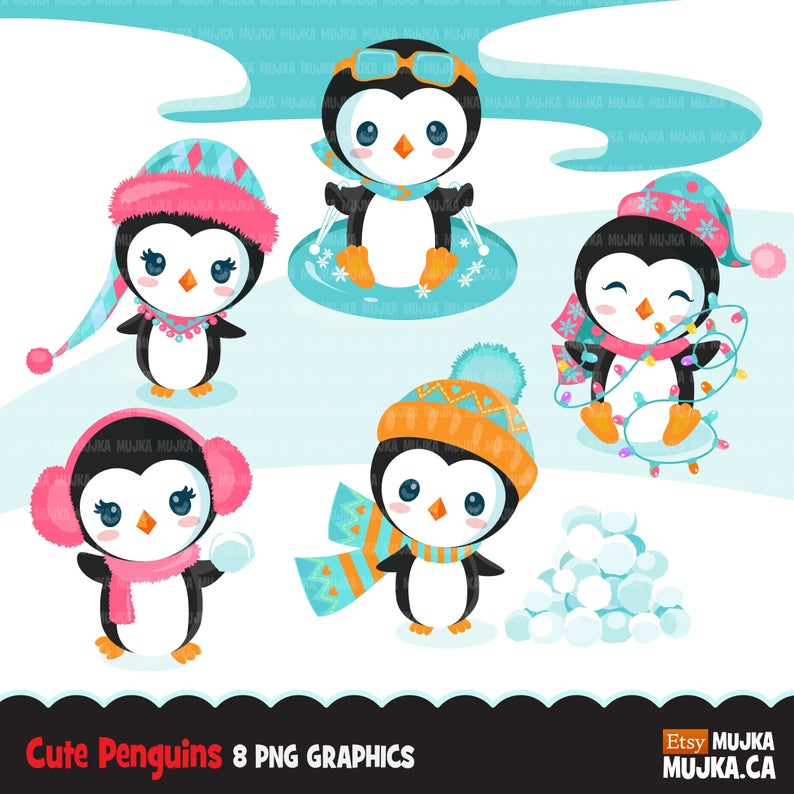 Christmas penguins clipart. Cute baby penguins in Christmas and winter  outfits, noel, winter baby animals, planner stickers, commercial use.