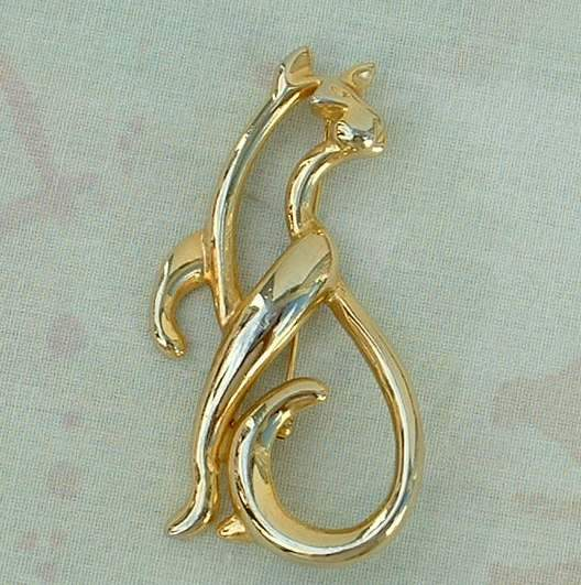 Large Openwork Cat Brooch Similar to Baby Phat Logo Figural Jewelry.
