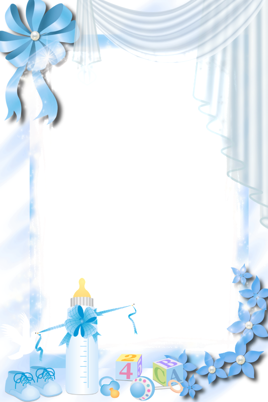 Transparent Blue PNG Baby Frame.