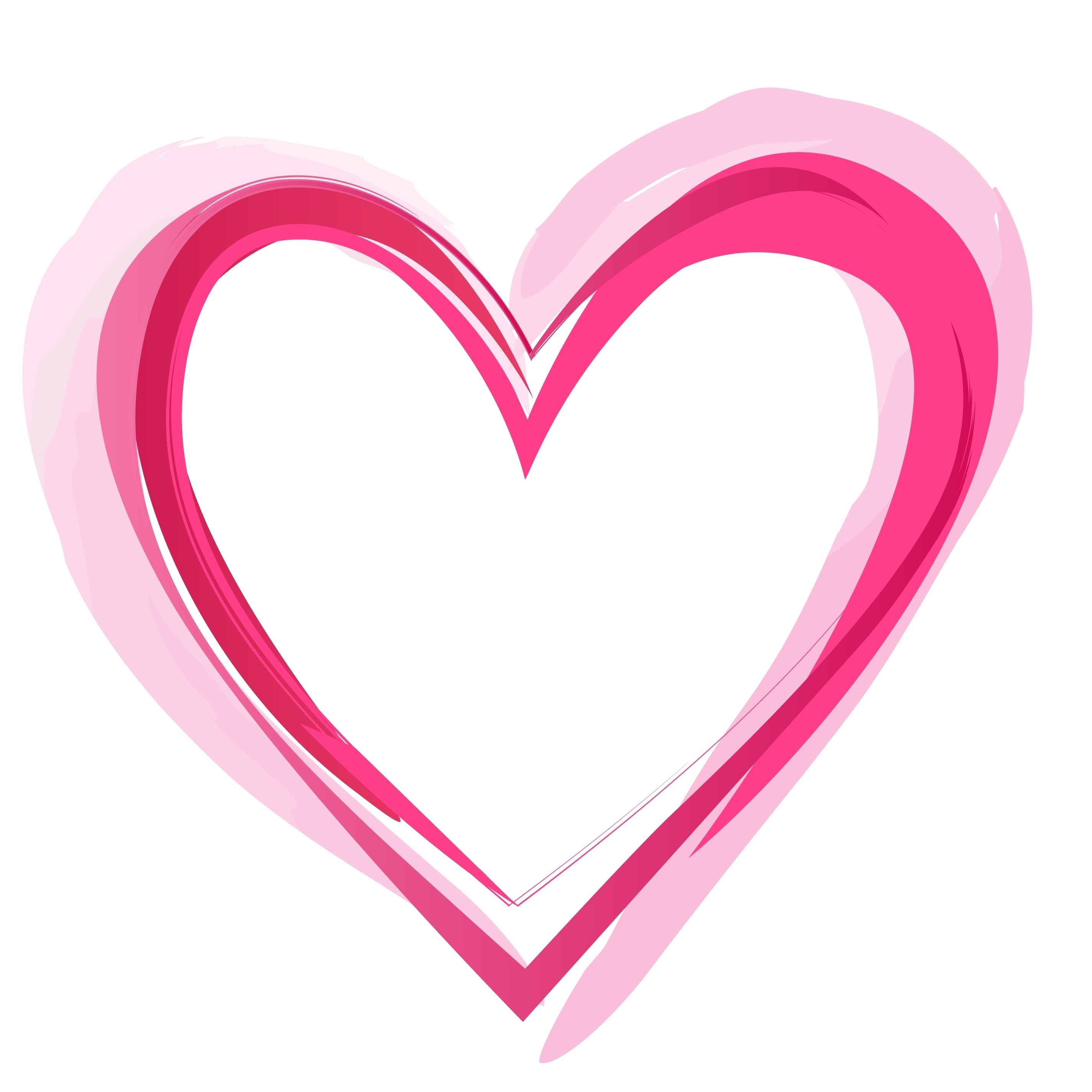 Pink child heart outline clipart.
