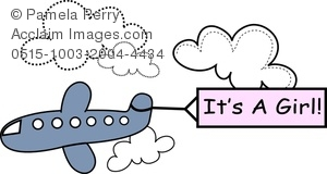 Clip Art Image of an It's a Girl Baby Announcement Graphic.