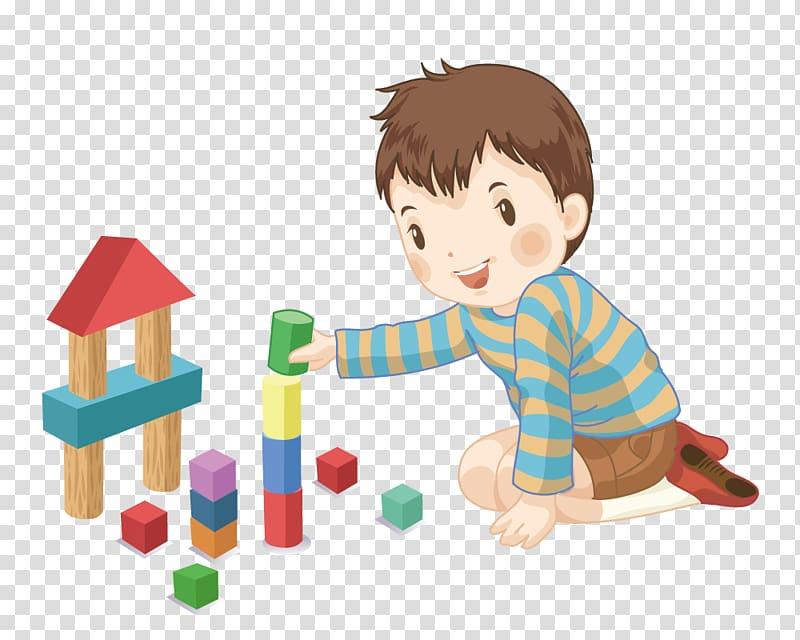 Toy block Designer Cartoon Child, Boy playing with blocks.