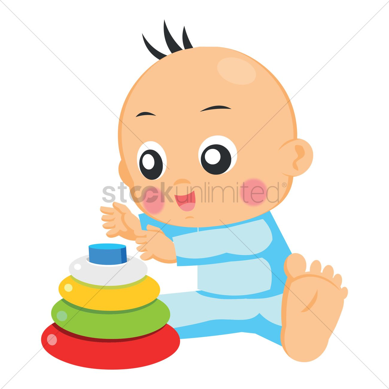 Free Baby playing with toys Vector Image.