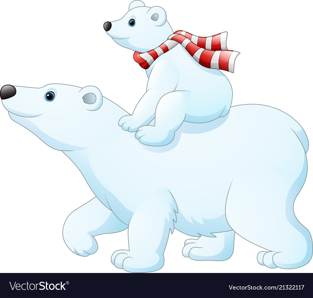 Cartoon baby polar bear riding on her mother.