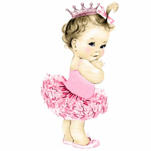 Vintage Pink Ballerina Princess Baby Girl Shower Statuette.