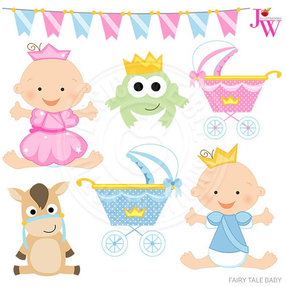 Fairy Tale Baby Cute Digital Clipart, Princess Clipart, Prince.