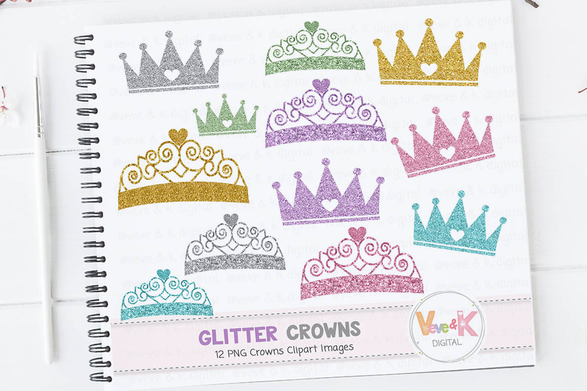 Glitter Crowns Clipart, Glitter Crowns, Crowns Clipart, Gold Glitter Crown  Clipart, Crown Graphics, Princess Baby Shower, Princess Clipart.