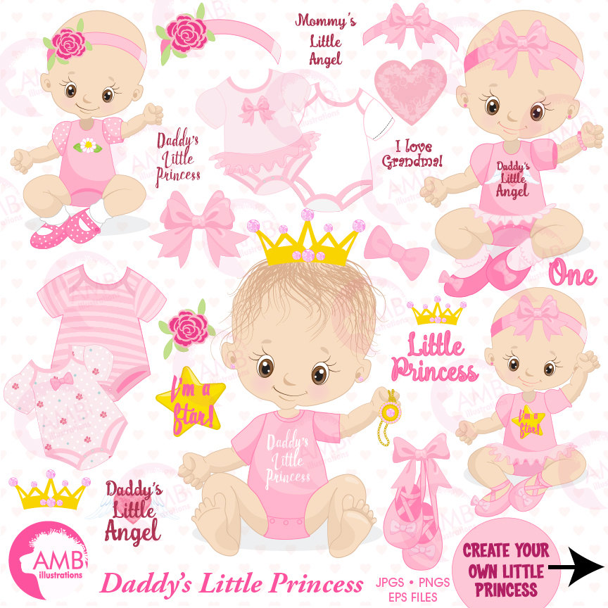 Baby girl clip art, girl onezies, Little princess clipart, create your own  clipart, princess clipart AMB.