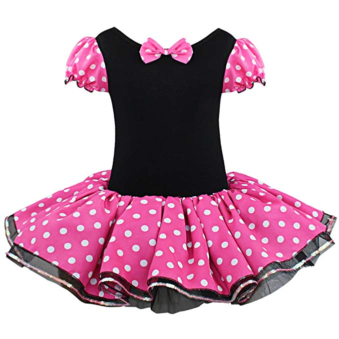 iEFiEL Baby Girls Polka Dots Princess Costume Kids Cartoon Tutu Dress with  Ear Headband.