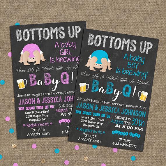 Bottoms Up Baby Shower, Baby Q, Babyque BBQ Invitation.