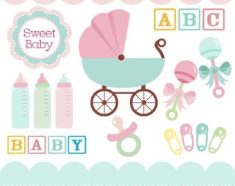 Baby clipart in teal, pink, baby rattles, baby carriage.