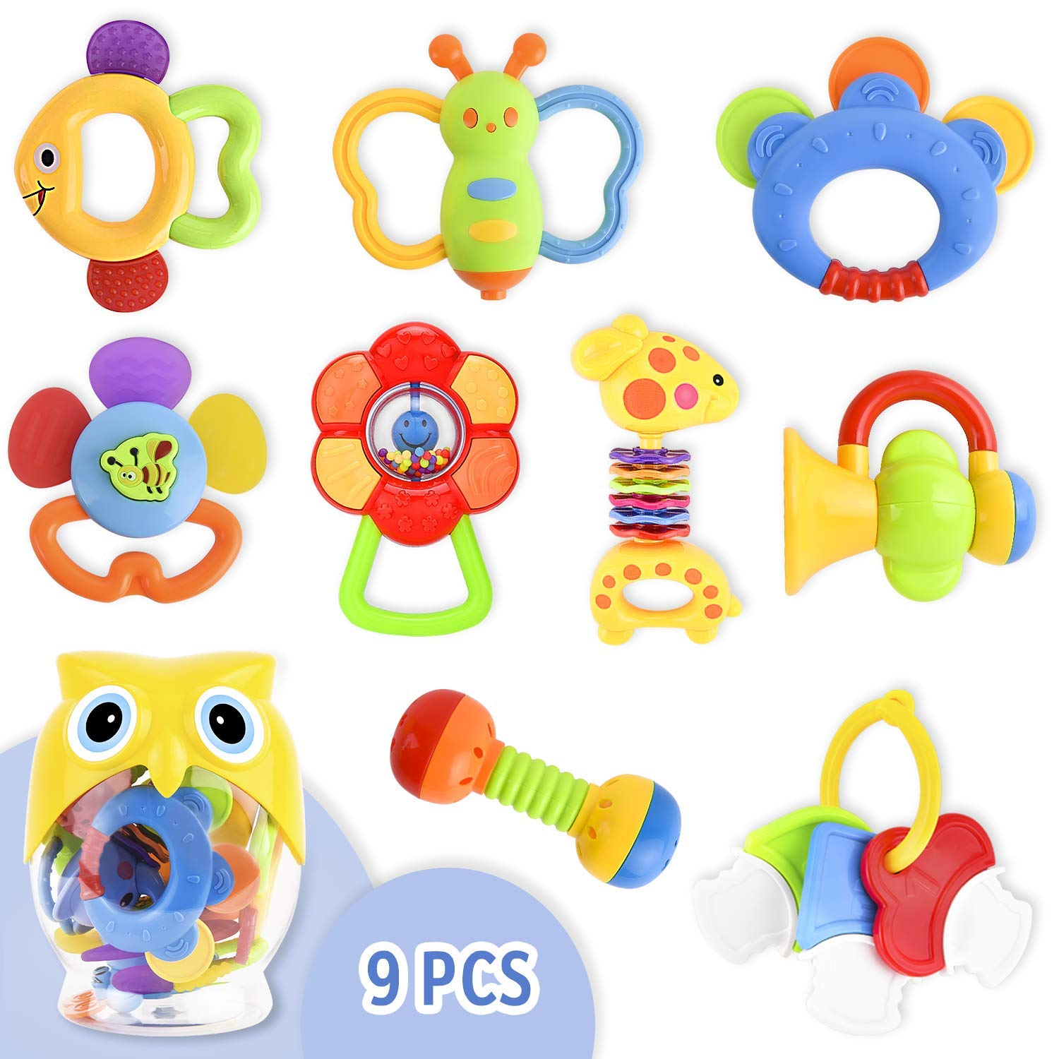 9 Pcs Toys for Infants Baby Rattle Teether Toy Set, Baby Mouth Toys Shake  and Grab Rattle Musical Toys with Owl Storage Bottle Baby First Rattle and.