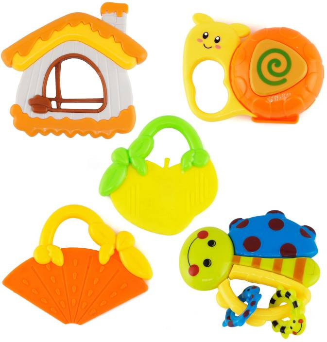 Wishkey Baby Rattle and Teether Toys for Infants Non Toxic with Mild sound  Set of 5 Rattle.
