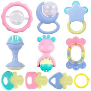 Details about 10Pcs Safety Baby Rattles Teether Toy Biting Bells Silicone  Teething Appease Toy.