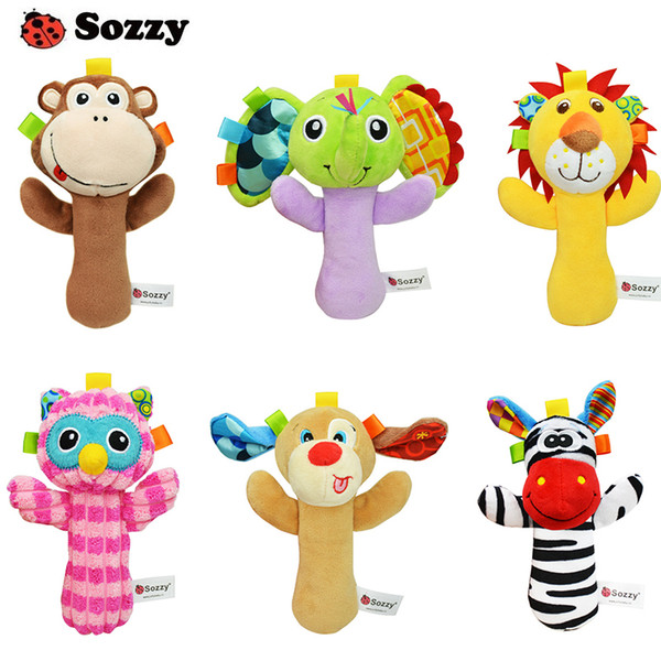 2019 12 Styles Sozzy Lovely Plush Stuffed Animal Baby Rattle Squeaky Sticks  Toys Hand Bells For Children Newborn Gift From Byktoys, $3.05.