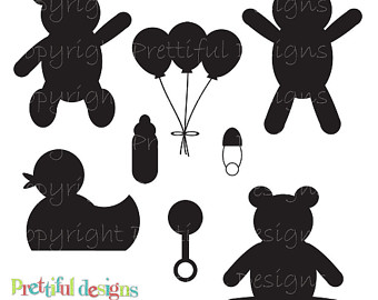 sillouette baby items.