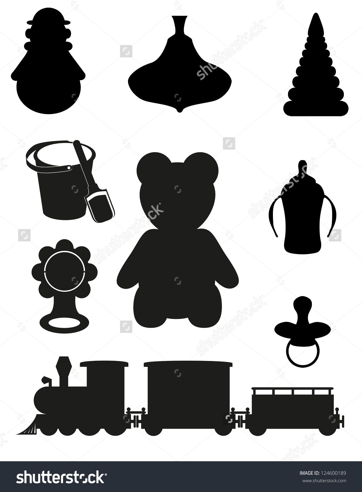 Icon Toys Accessories Babies Children Black Stock Vector 124600189.