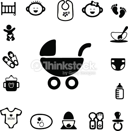 Baby Silhouette Icons Vector Art.