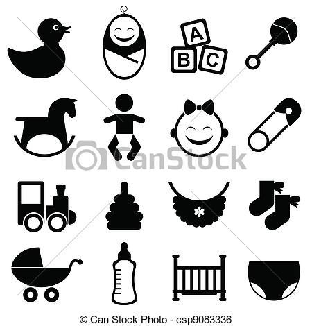 Clip Art Vector of Baby icon set in black csp9083336.