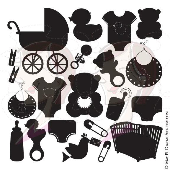 Silhouette Baby Clipart Girl Boy Black Nursery Clip Art DIY Baby.