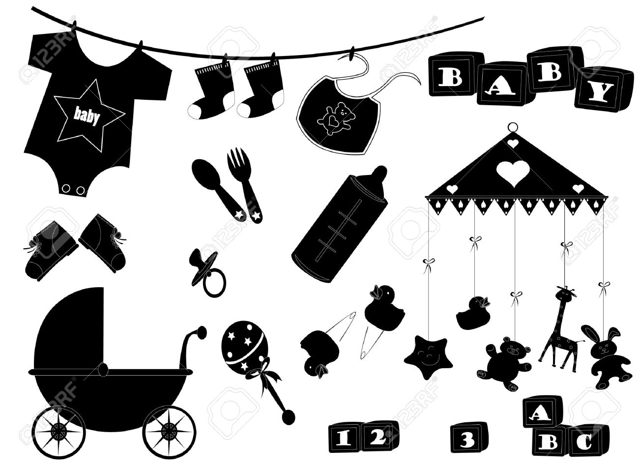 baby rattle silhouette clipart - Clipground