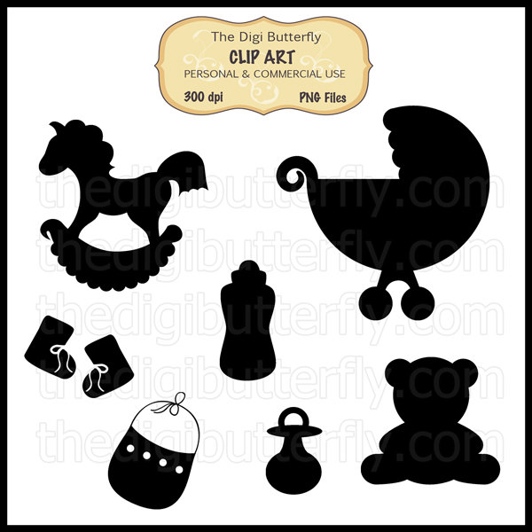Lullaby Baby Silhouettes Clip Art Set.