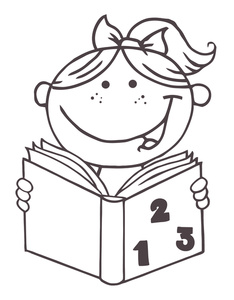 baby reading a book clipart #7