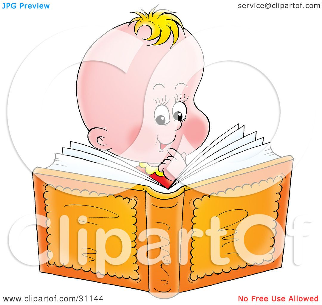 Clipart Illustration of a Smart Blond Baby Smiling And Reading A.