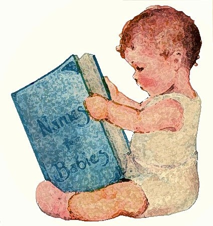 Baby Reading Clipart.