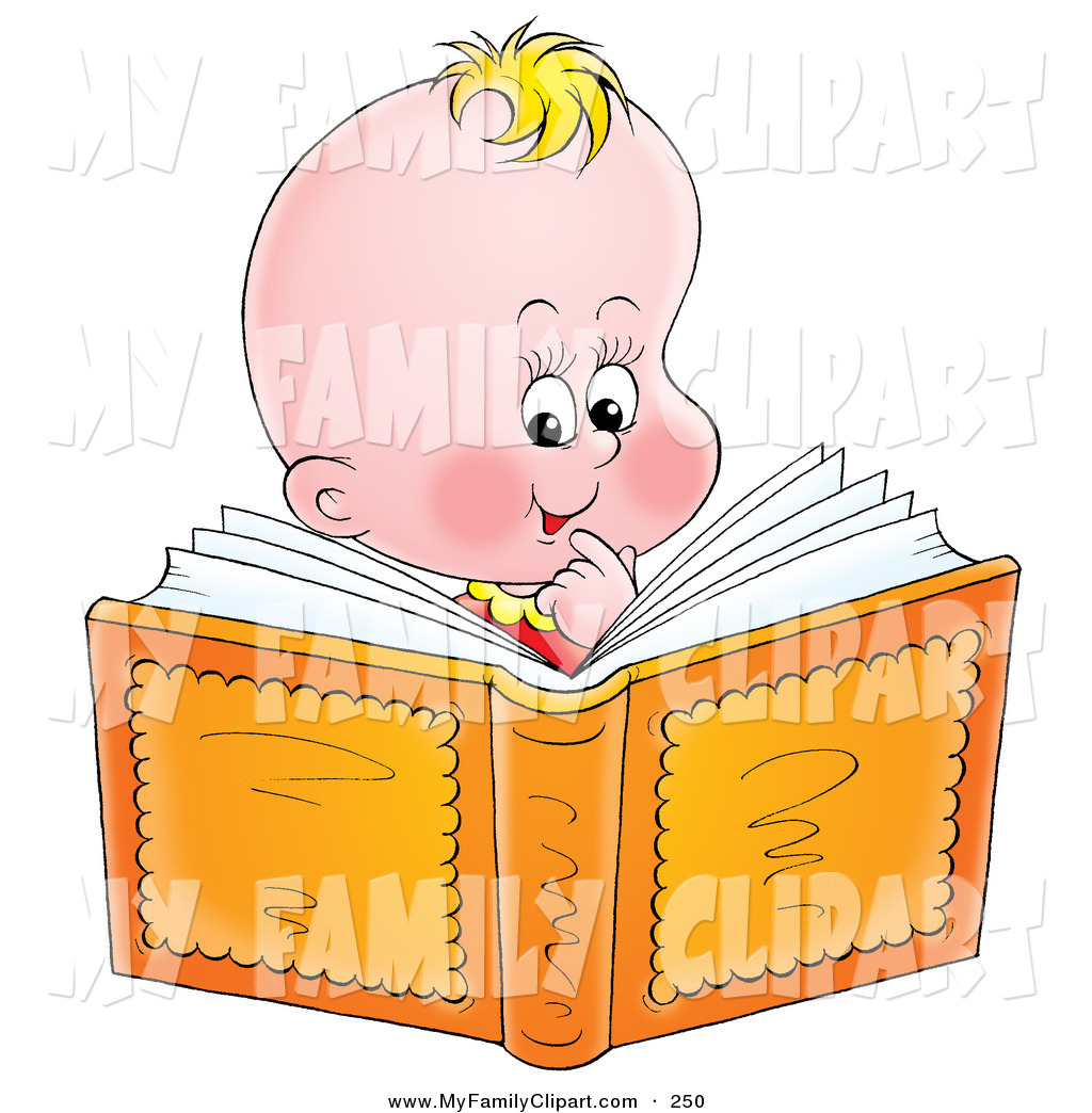 Clip Art of a Smart Young Blond Baby Smiling and Reading a Book by.