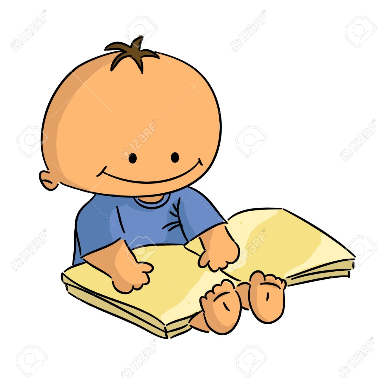 Cartoon Small Sitting Baby Reading Book (vector) Royalty Free.