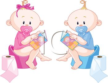 Royalty Free Clipart Image: Twin Babies Reading During Potty Training.
