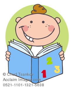 Clip Art Picture of A Cute Cartoon Boy Child Studying Arithmetic.