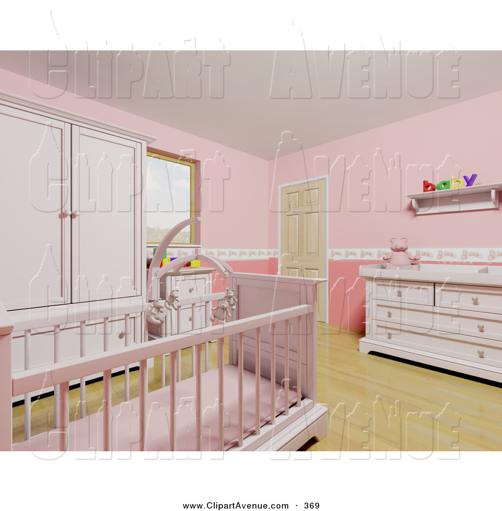 Avenue Clipart of a Pink Baby Girl\'s Nursery Room with a.