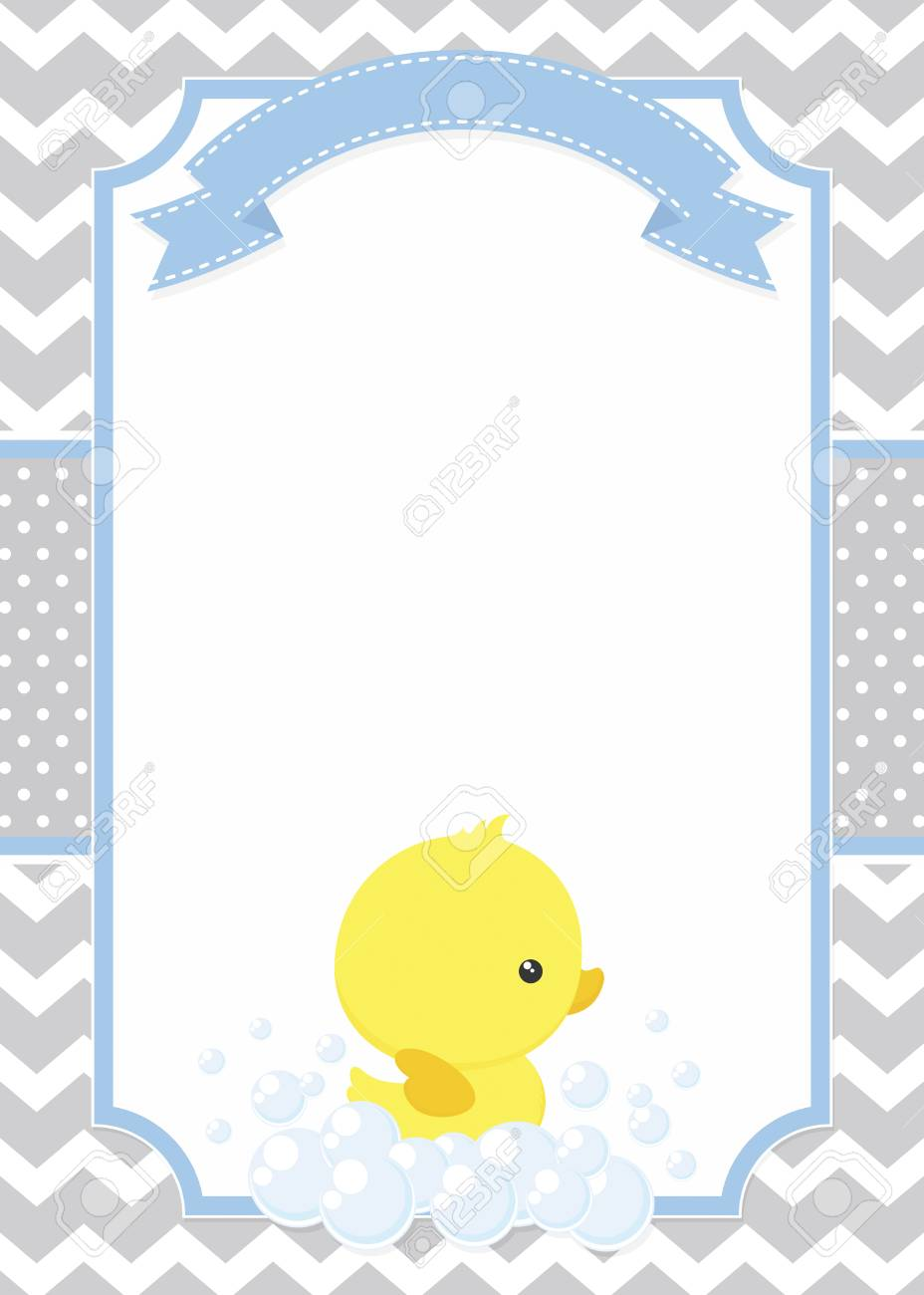 Cute baby shower card with little baby rubber duck on chevron...