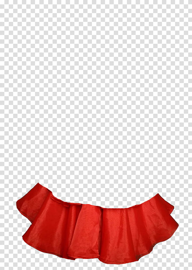 Fabric, red satin layered skirt transparent background PNG.