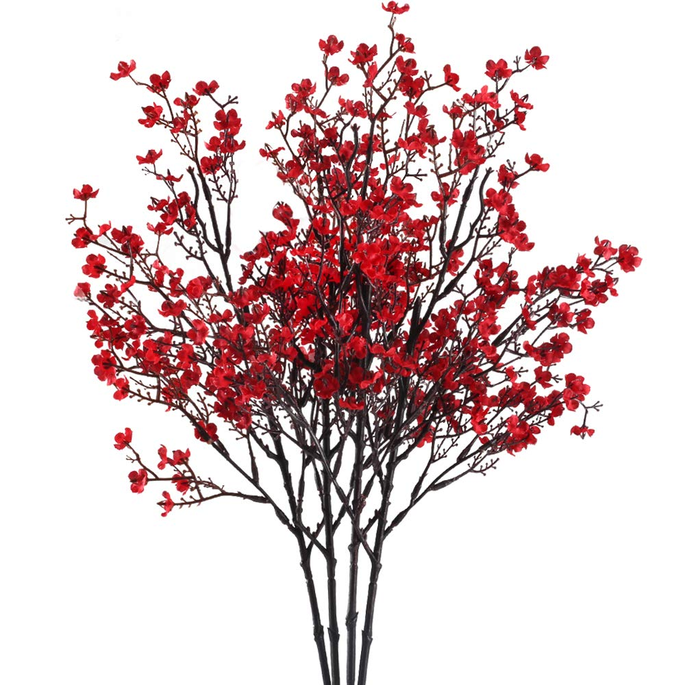 NAHUAA 4PCS Red Babys Breath Artificial Flowers Fake Silk Real Touch Floral  Bouquet Home Office Farmhouse Wedding Centerpiece Arrangements Decor for.