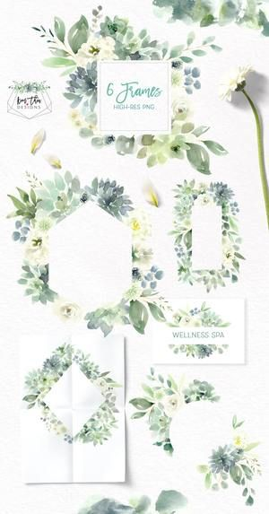 Succulents, White Flowers and Greenery Design Set in 2019.