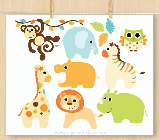 Baby Boy Safari Animals Clipart.