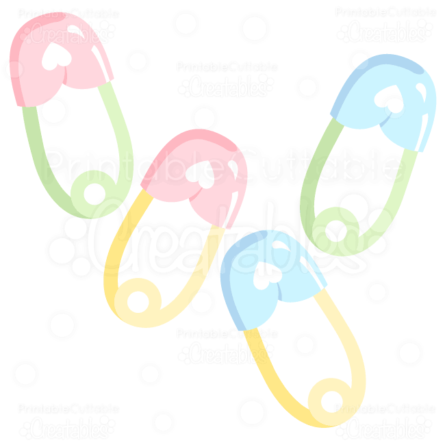 Sweet Baby Safety Pins SVG Cuts & Clipart.