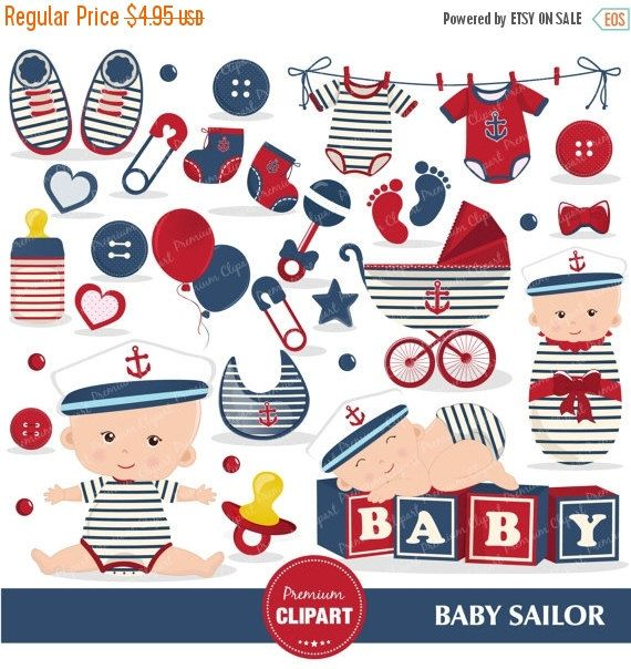 70% OFF SALE Nautical baby shower clipart, Baby sailor.