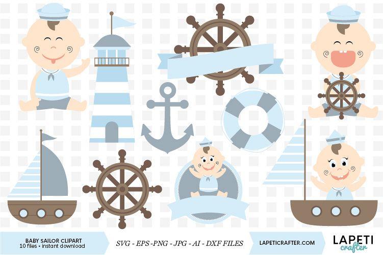 Baby boy sailor clipart, nautical baby shower clipart.