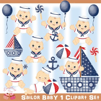 Sailor Baby 1 Clip Art Set.