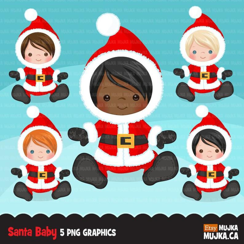 Baby Santa clipart, Christmas costume baby shower graphics, card making,  planner stickers, birthday party, african american, noel graphics.
