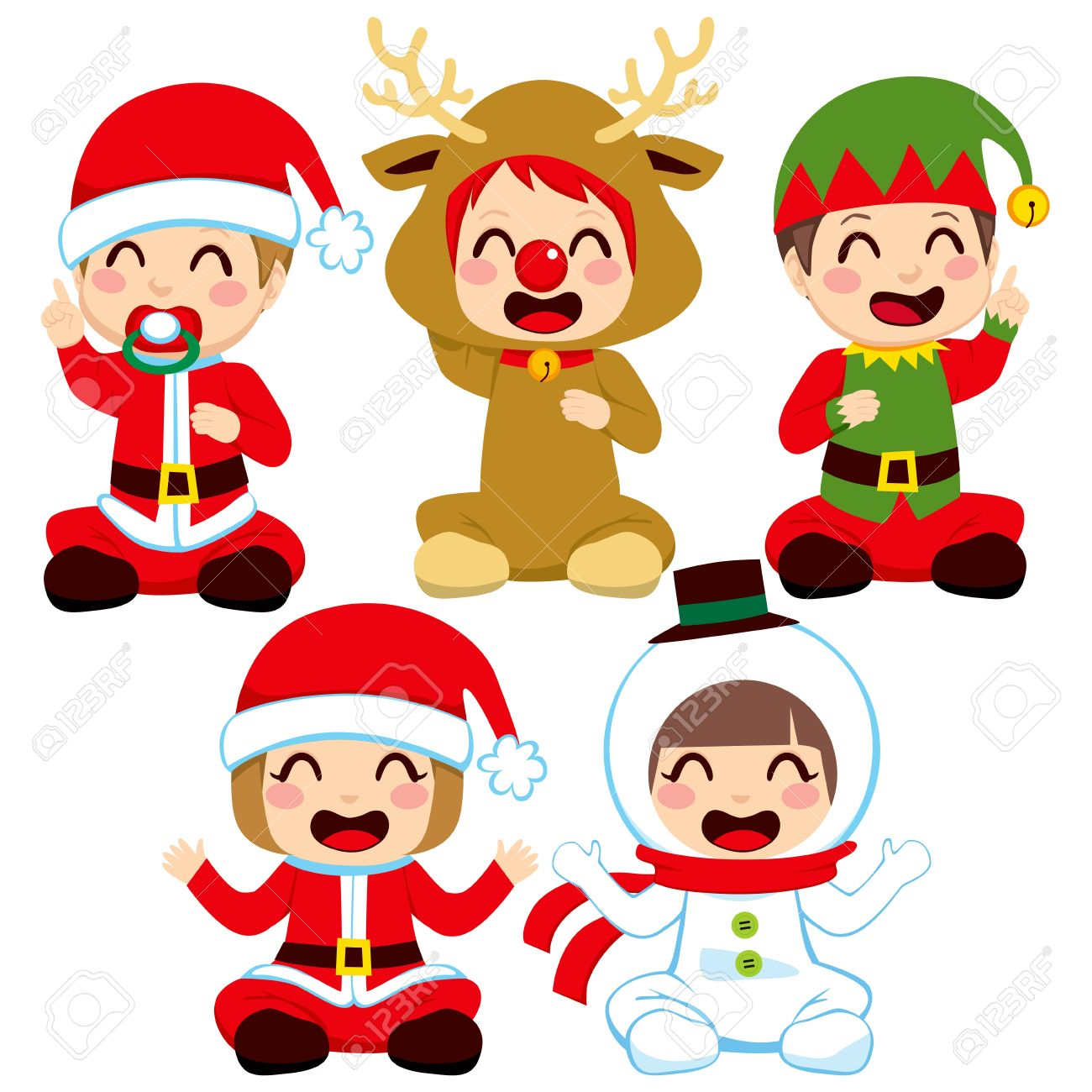 Little babies dressed in adorable Christmas costumes.