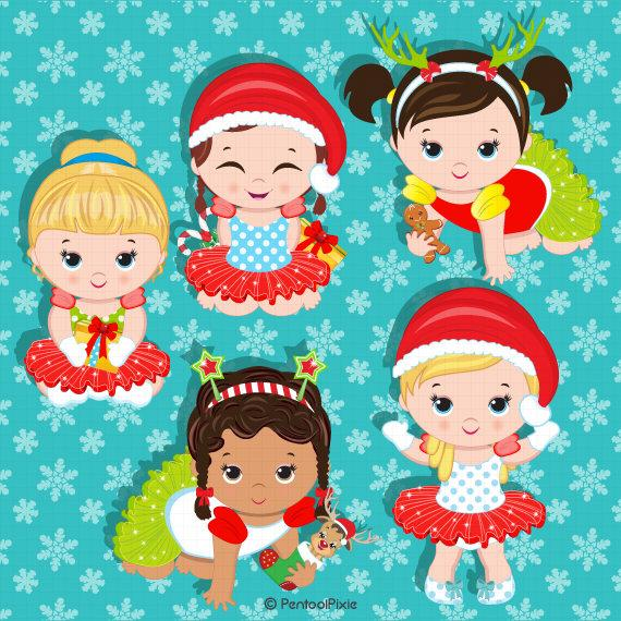 Christmas babies clipart, Baby girl clipart, Baby Santa clipart, Christmas  clipart.